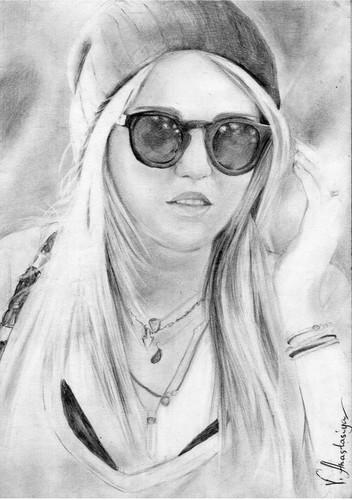 Drawing দেওয়ালপত্র with sunglasses titled Miley Cyrus
