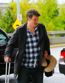 Nathan Fillion leaving Vancouver, April 28th 2012