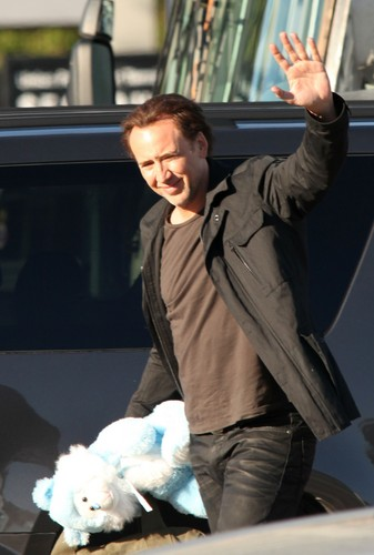 Nicolas Cage - films a scene for his new movie 'Medallion'