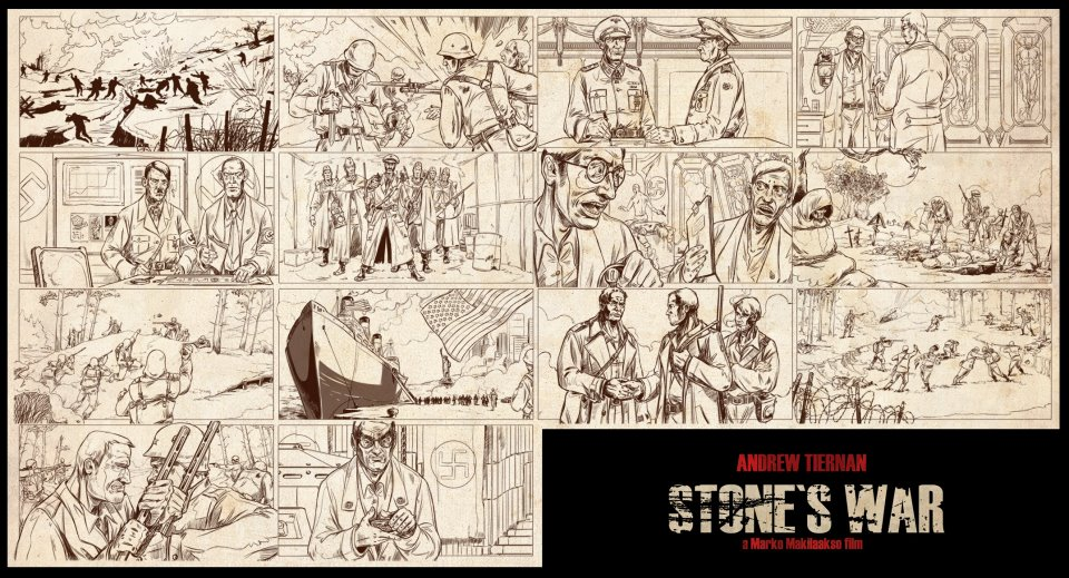 Original storyboard for the opening sequence of Nazi Zombie film, War Of The Dead