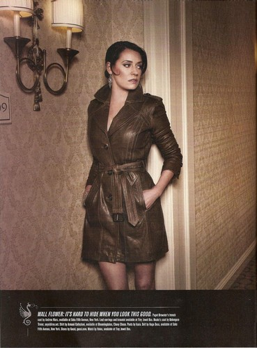 Paget Brewster wallpaper possibly containing a trench coat titled Paget on Watchmagazine June 2012