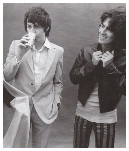 Paul McCartney wallpaper containing a business suit called Paul and George