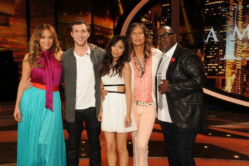 Phillip and Jessica with Jennifer Lopez,Steven Tyler,and Randy Jackson