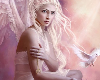 Fantasy پیپر وال with a portrait called گلابی Angel