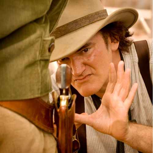 Quentin Tarantino wallpaper with a fedora, a boater, and a snap brim hat titled Quentin Tarantino, behind the scenes on the set of Django Unchained