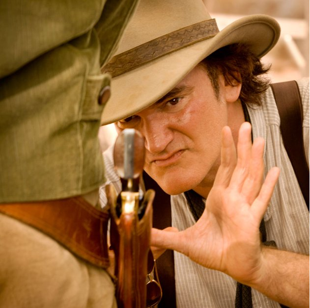 Quentin Tarantino, behind the scenes on the set of Django Unchained