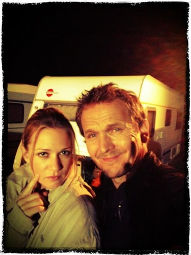 Seb camping on set with AJ Cook - sebastian-roche Photo