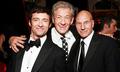Sir Ian McKellen with Sir Patrick Stewart and Hugh Jackman