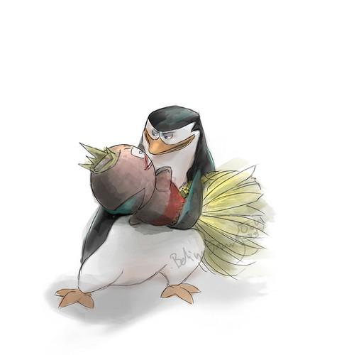 पेंग्विन्स ऑफ मॅडगास्कर वॉलपेपर possibly with a bouquet called Skipper and Lola