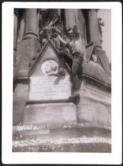 Stuart climbing on a monument (from art-school era - Liverpool)