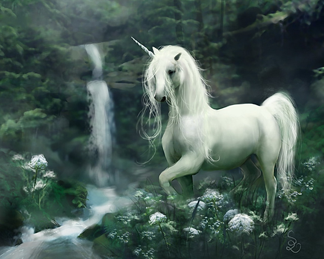 Fantasy UnicornUnicorns And Waterfalls