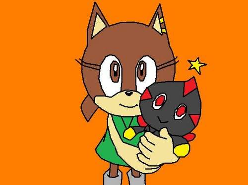 Victoria the hedgehog as me when i was a kid again and Darkness the chao or sally