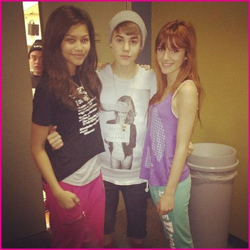 Zendaya , Bella meets Justin Beiber