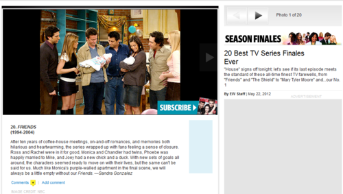 ew / 20 Best TV Series Finales Ever