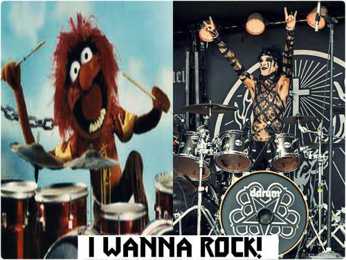 Rakshasa's World of Rock N' Roll achtergrond with a trommelaar, drummer entitled ★ CC & Animal ☆