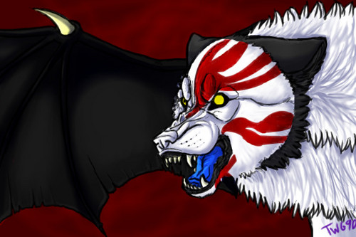 "DarkCruz360 wallpaper entitled ""Hollow, Wolf, and Bat . . . Fused"""