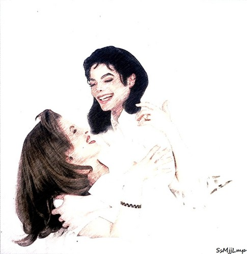 Michael Jackson and Lisa Marie wallpaper possibly with a portrait titled > $.\/\/.e.e.T <