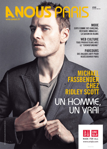 Michael Fassbender wallpaper containing a business suit and anime titled Anous Paris magazine cover