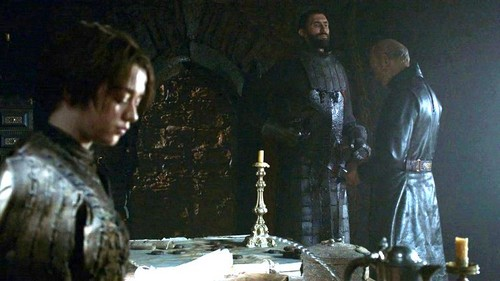 Arya with Tywin and Gregor Clegane