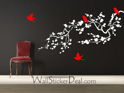 Birds and ceri, cherry Blossom Branches dinding Stickers
