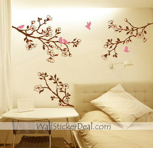 Branch cherry Blossom Birds ukuta Sticker