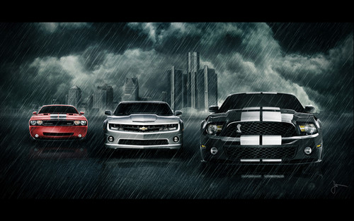 Camaro, Challenger, and mustang