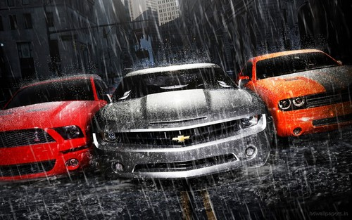 DarkCruz360 wallpaper containing a minicar and an automobile titled Camaro, Dodge Challenger, and Mustang