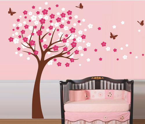 cerise Blossom arbre with papillon mur Sticker