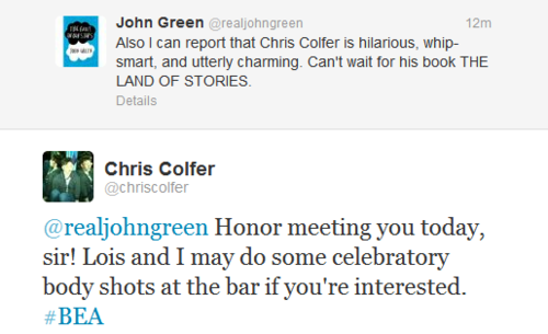 Chris Colfer & John Green Twitter