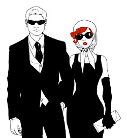 Hawkeye & Black Widow karatasi la kupamba ukuta containing a business suit and a suit called Clint & Natasha
