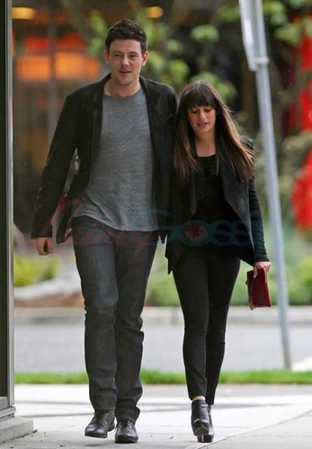 Cory Monteith wallpaper containing a hip boot entitled Cory Monteith & Lea Michele Out Of The Eatery, Vancouver - May 30,2012