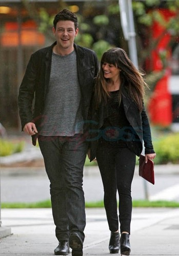 Cory Monteith wallpaper possibly containing a business suit, a street, and a hip boot titled Cory Monteith & Lea Michele Out Of The Eatery, Vancouver - May 30,2012