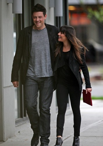 Cory Monteith wallpaper containing a business suit, a well dressed person, and a pantleg entitled Cory Monteith & Lea Michele Out Of The Eatery, Vancouver - May 30,2012