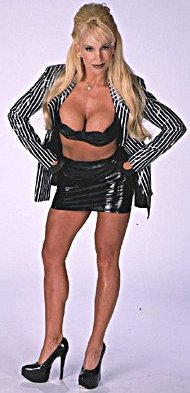 Frühere WWE-Diva… Debra Hintergrund probably containing a stocking, hot pants, hot-pants, and attractiveness titled Debra - Striped Suit