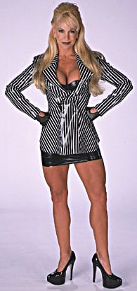 Former WWE Diva... Debra پیپر وال probably containing tights, a playsuit, and a leotard titled Debra - Striped Suit