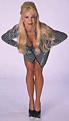 Former WWE Diva... Debra پیپر وال possibly with a leotard, a maillot, and a swimsuit کا, سومساٹ titled Debra - Striped Suit