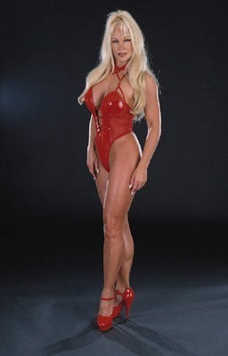 Former WWE Diva... Debra achtergrond possibly containing a leotard and a zwempak, badpak entitled Debra in Red