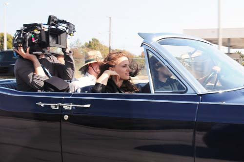 Driving around a strada, via set with Christian Bale in Los Angeles (June 4th 2012)