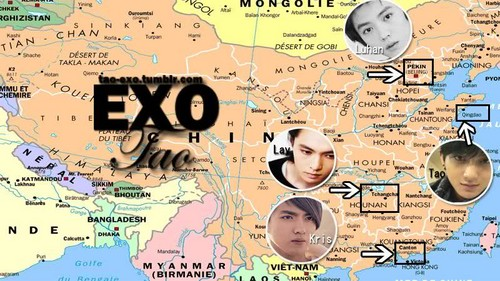 EXO-M's Chinese member map