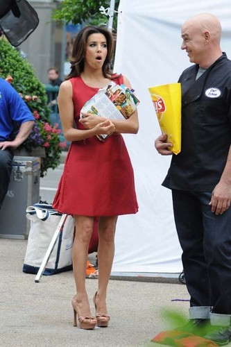 Eva filming a Lay's potato chip commercial in NYC