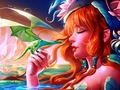 Fairy and dragon - daydreaming wallpaper