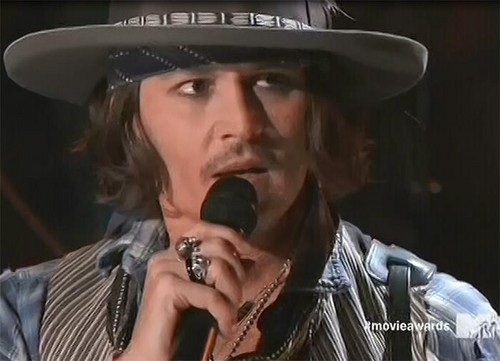 Johnny Depp wallpaper containing a fedora, a snap brim hat, and a campaign hat entitled JD at MTV MA 2012
