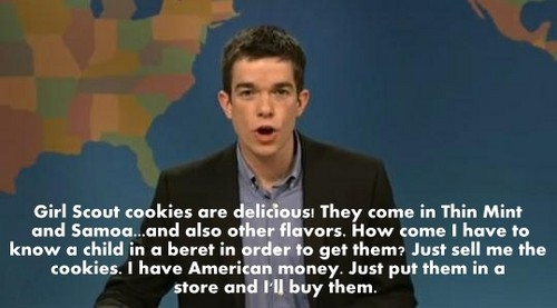 Saturday Night Live wallpaper probably containing a well dressed person and a portrait entitled John Mulaney, Girl Scout Cookie Rant.
