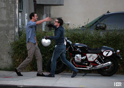 Josh rides his Moto Guzzi Cafe bike to Hamburger Mary's in West Hollywood - josh-hutcherson Photo