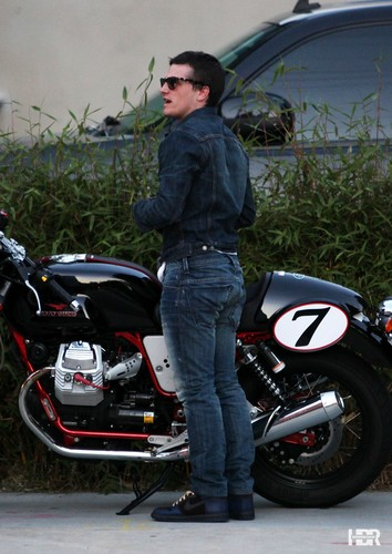 Josh rides his Moto Guzzi Cafe bike to Hamburger Marys in West Hollywood - josh-hutcherson Photo