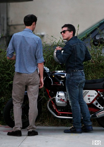 Josh rides his Moto Guzzi Cafe bike to Hamburger Mary's in West Hollywood