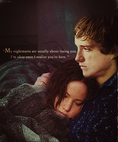 Peeta Mellark and Katniss Everdeen kertas dinding entitled Katniss and Peeta