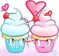 Kawaii cupcake in love