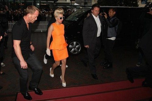 Lady gaga's New Zealand arrival.