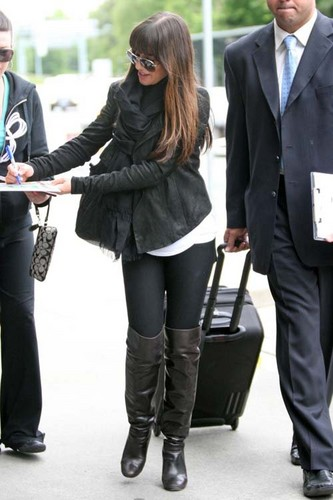 Lea Michele and Cory Monteith wallpaper containing a business suit called Lea At YVRr Airport - May 30, 2012